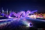 Naga yang terbuat dari metal dan mengeluarkan api menjelang matahari terbit FOTO ABC Chuck Cerrillo