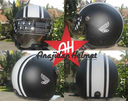 Salah satu jenis helmet Anajidan untuk pecinta Motor Honda CB hasil inovasi Gilang Hardian. FOTO : Dok. Anajidan.